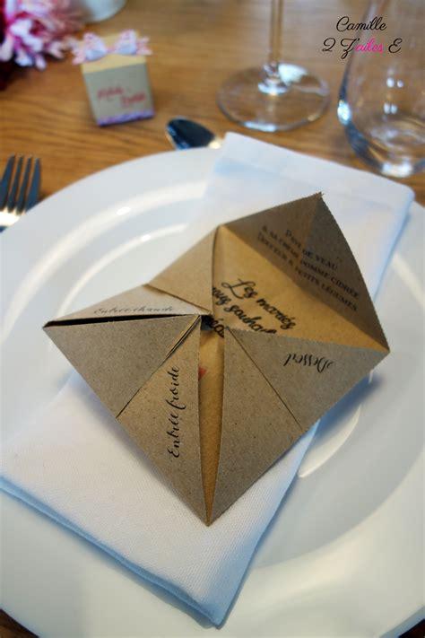 Origami Menu - menu cocotte camille 2 z ailes e cr 233 ations de