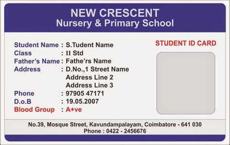 Student Card Template by Id Card Coimbatore Ph 97905 47171 Elementary School