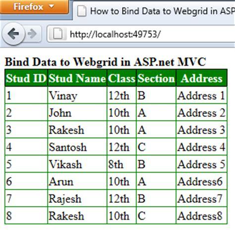 format date bind asp net how to bind data to webgrid in asp net mvc using c net