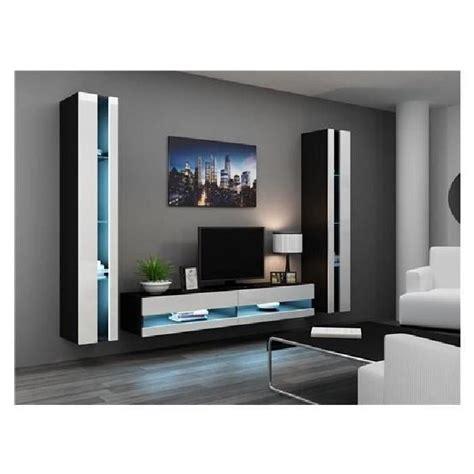 ensemble meuble tv mural olermo noir et blanc achat