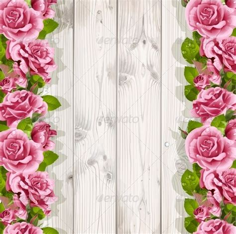 template background undangan pernikahan graphicriver wooden background with pink roses 6565354