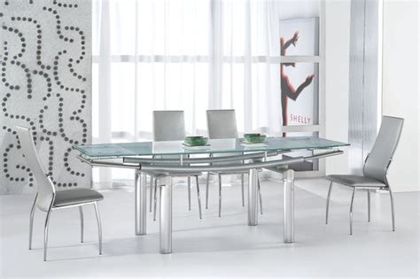 extendable recangular frosted glass top leather modern