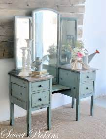 Antique Vanity Table Moody Blue Antique Vanity Dressing Table Before After Sweet Pickins Furniture