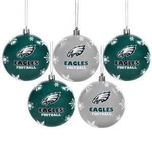 philadelphia eagles 5 pk shatterproof ball ornaments