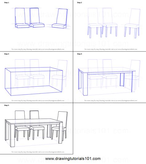 dining table drawing how to draw dining table with chairs printable step by
