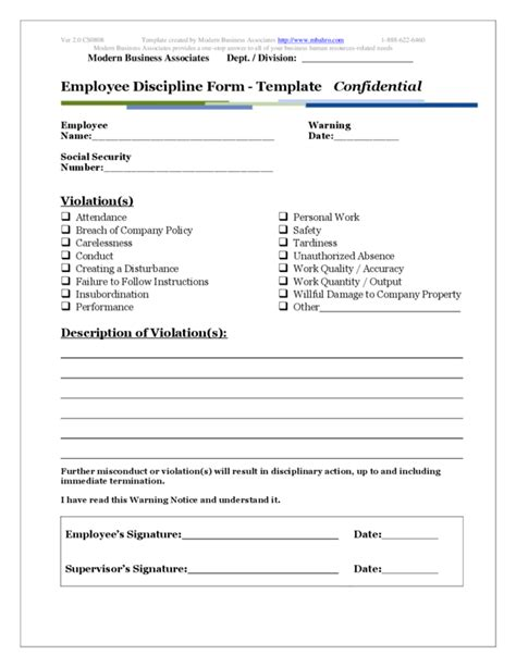 Employee Write Up Template 2   LegalForms.org