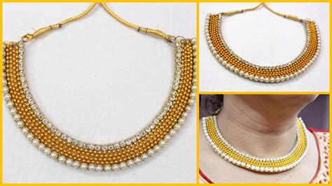 Handmade Chain Designs - how to make partywear designer necklace at home i handmade