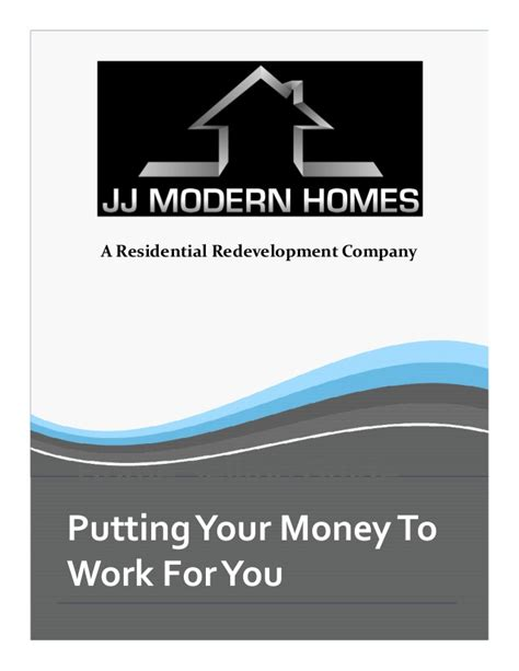 Private Money Credibility Packet Jj Modern Homes Fortune Builders Templates