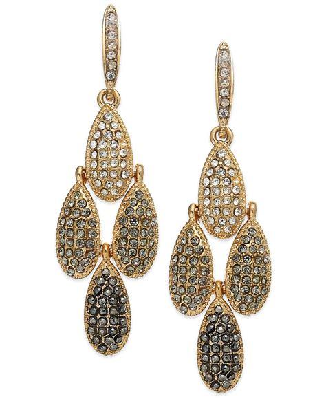 gold tone chandelier earrings inc international concepts gold tone pave teardrop