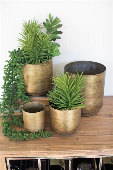 set   aged brass metal flower pots