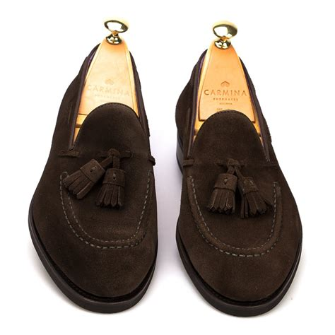 loafers tassel tassel loafers in brown suede carmina