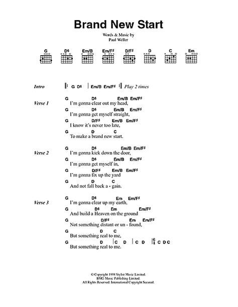 lyrics paul brand new start sheet by paul weller lyrics