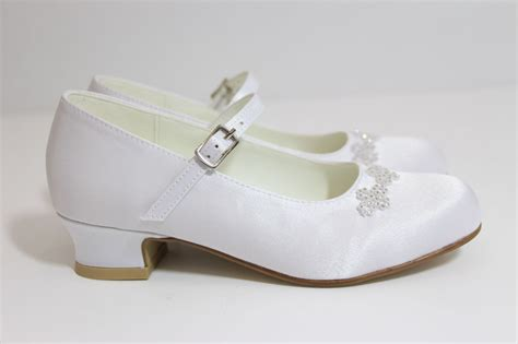 white satin communion shoes with heel and