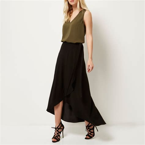 Ruffle Maxi Skirt river island black ruffle front maxi skirt in black lyst