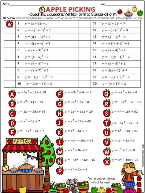 Converting Quadratic Equations Worksheet Standard To Vertex Answer Key