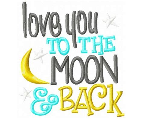 Love you to the moon and back mashine embroidery design
