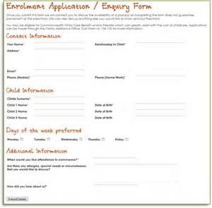 Child Care Enrollment Form Template by Enrollment Form Images
