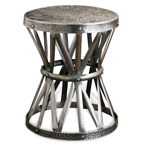 Silver Side Table Araby Rustic Hammered Antique Silver Accent Side Table Kathy Kuo Home