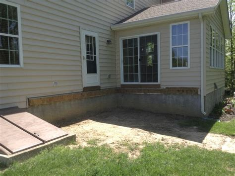 small concrete patio small 8 x8 deck with enlarged stairs to sted