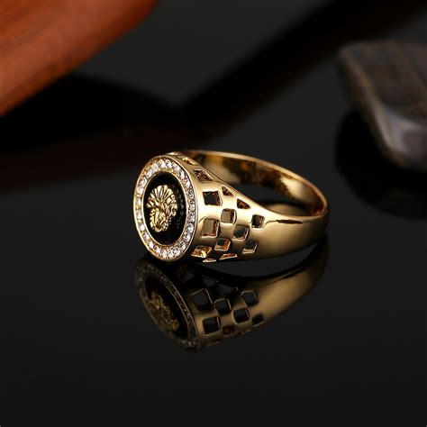 high quality cubic zirconia human head ring gold color  krgp