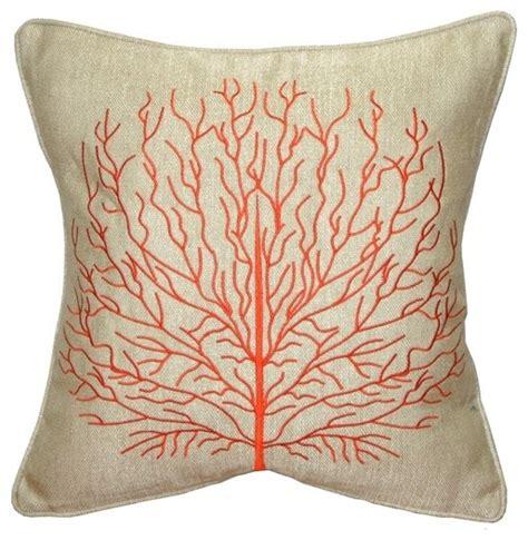 %name Colorful Throw Pillows   Pillow Decor   Fire Coral 17 x 17 Throw Pillow, Orange   Beach Style   Decorative Pillows   by