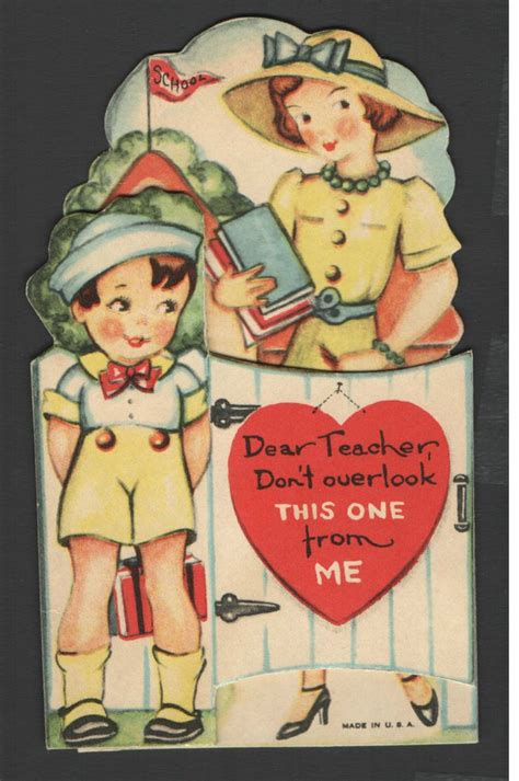 school valentines cards vintage valentines day card child school