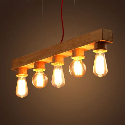 Handmade Hanging Lights - e27 edison bulb wood handmade wooden chandelier 5