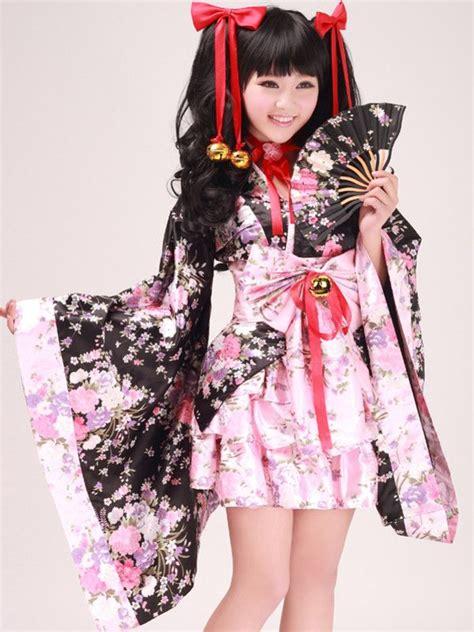 Cherry Hinata Flowers Kimono Japanese Skirt kimono set with jingle bells