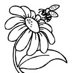 Mr Bee and a Daisy Flower Coloring Page   Download & Print Online
