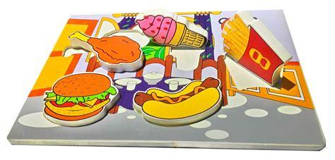 Chunky Puzzle Profesi puzzle chunky makanan favorit mainan kayu