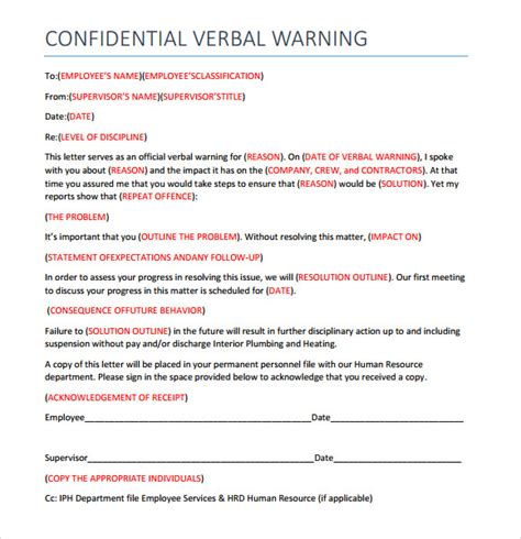 6 Verbal Warning Templates Pdf Sle Templates Verbal Warning Letter Template