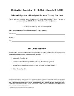 acknowledgement of receipt of notice of privacy practices template acknowledgement of receipt of notice of privacy practices