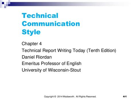 technical report writing sle chapter 4 technical communication style