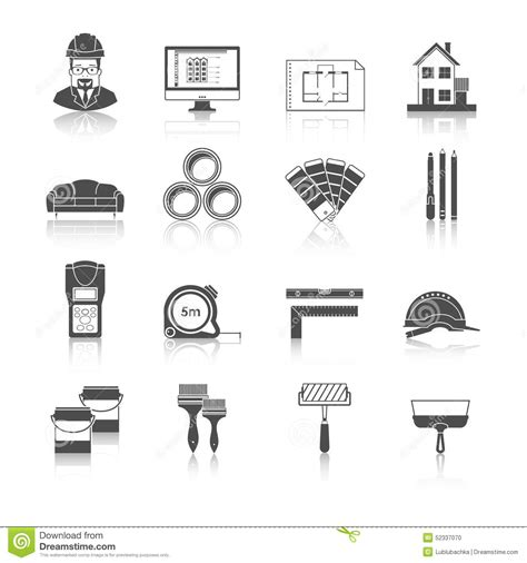 architecture layout vector architecture interior design and repairs vector icons set