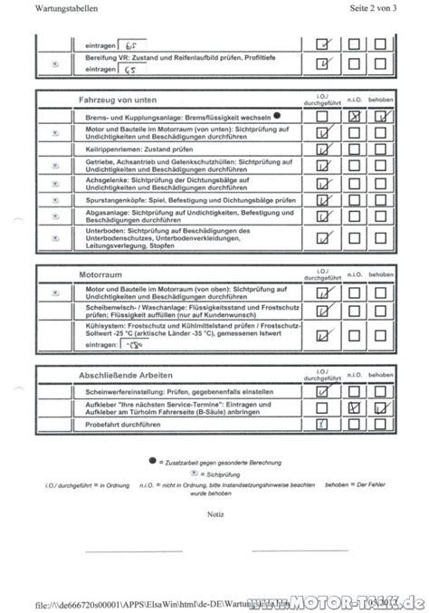 Inspektion Auto Was Wird Gemacht by Iinspektionservice Wartungsliste S2 Inspektion 3jahre