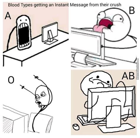 How To Type Memes - blood types reactions by le mao meme center