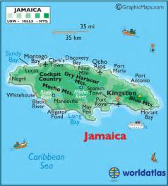 Jamaica On World Map by Jamaica Large Color Map