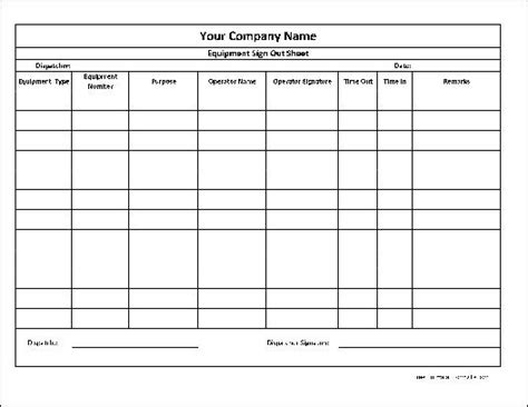 free personalized equipment sign out sheet wide row from