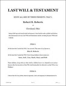 will template california last will and testament sle form free printable documents