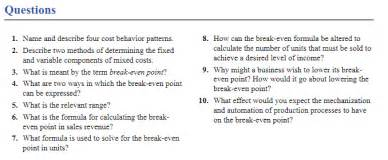 behavior pattern questions solved questions 1 name and describe four cost behavior