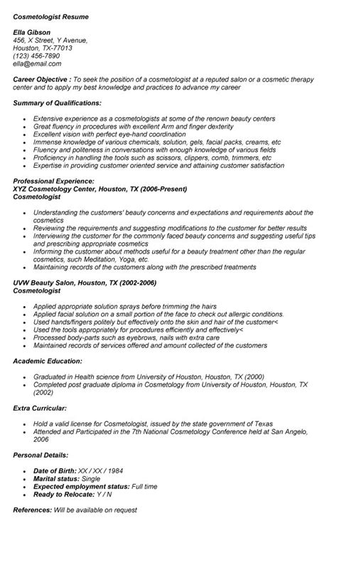 cosmetology resume exles for students cosmetologist resume resume badak