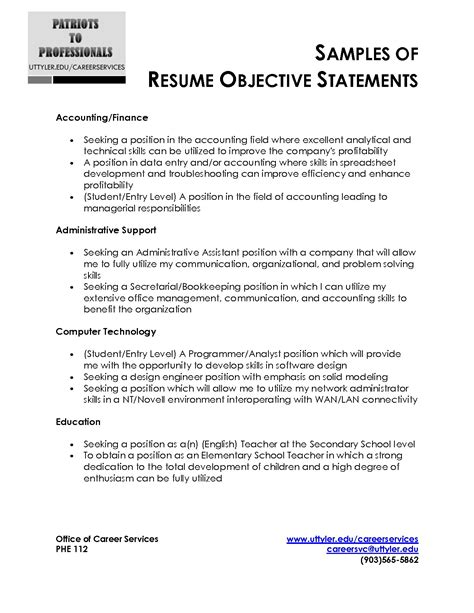objective statements exles sle resume objective statement adsbygoogle window