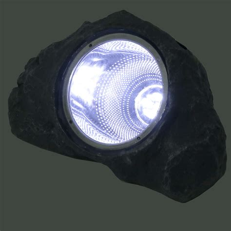 Solar Powered Lights Outdoor Solar Powered Outdoor Small Rock Garden Accent With White Led Light Set Of 4 Ebay