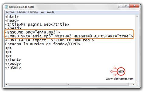imagenes html codigo c 243 digo para insertar m 250 sica de fondo herramientas