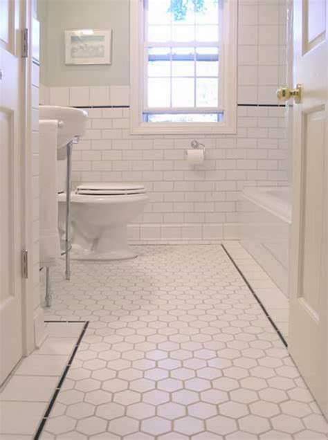 bathroom with subway tile hexagon tiles
