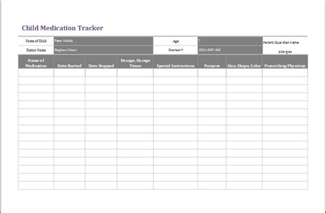 Child Medication Tracker Template Ms Excel Formal Word Templates Medication Log Template Excel