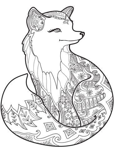 coloring pages for adults fox zentangle fox coloring page print science