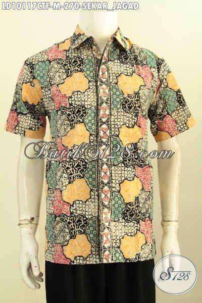 Kemeja Hem Sogan Blok Sekar hem batik pria motif sekar jagad kemeja lengan pendek elegan dan mewah dengan daleman