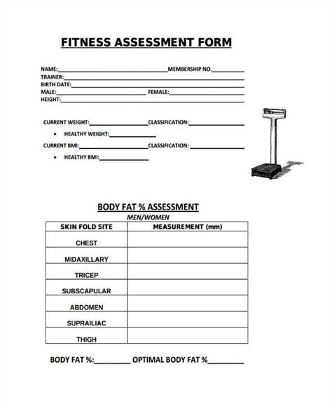 fitness appraisal template 8 fitness assessment form sles free sle exle