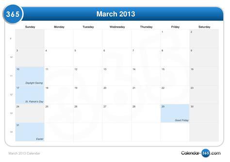 Easter 2013 Calendar March 2013 Calendar